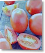 Plum Tomatoes On A Wooden Board Metal Print by Romulo Yanes