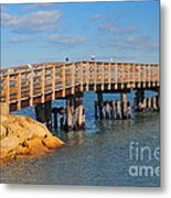 Plymouth Harbor Breakwater Metal Print by Catherine Reusch  Daley