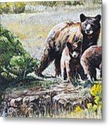 Prairie Black Bears Metal Print