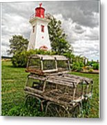 Prince Edward Island Lighthouse With Lobster Traps Metal Print by Edward Fielding