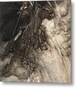 Raging, Wotan Rides To The Rock! Like Metal Print by Arthur Rackham