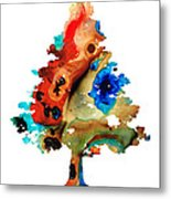 Rainbow Tree 2 - Colorful Abstract Tree Landscape Art Metal Print by Sharon Cummings