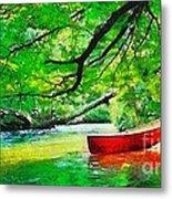 Red Canoe Metal Print by Elizabeth Coats