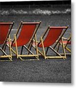 Red Deck Chairs Metal Print by Mikhail Pankov