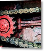 Red Gear Wheel And Chain Of Old Locomotive Metal Print by Matthias Hauser