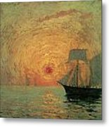 Red Sun Metal Print by Maxime Maufra