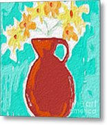 Red Vase Of Flowers Metal Print