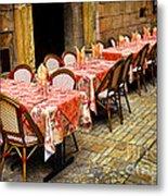 Restaurant Patio In France Metal Print