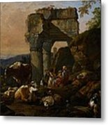 Roman Landscape With Cattle And Shepherds Metal Print