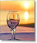 Romantic Sunset Drink With Wine Glass Metal Print
