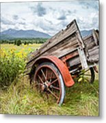 Rustic Landscapes - Wagon And Wildflowers Metal Print