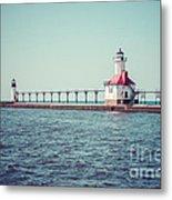 Saint Joseph Michigan Lighthouse Retro Picture  Metal Print by Paul Velgos