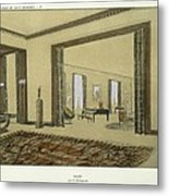 Salon, From Repertoire Of Modern Taste Metal Print by Jacques-Emile Ruhlmann