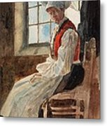 Scandinavian Peasant Woman In An Interior Metal Print by Alexandre Lunois