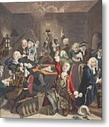 Scene In A Gaming House, Plate Vi Metal Print by William Hogarth