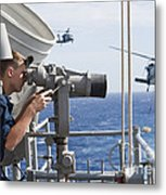 Seaman Apprentice Stands Watch Aboard Metal Print