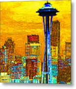 Seattle Space Needle 20130115v2 Metal Print by Wingsdomain Art and Photography