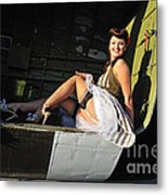Sexy 1940s Style Pin-up Girl Sitting Metal Print by Christian Kieffer
