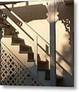 Shadowy Lambertville Stairwell Metal Print by Anna Lisa Yoder