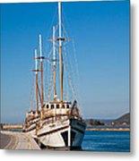 Ships At Lefkada Metal Print