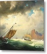 Ships On Stormy Ocean Metal Print