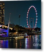 Singapore Flyer At Night Metal Print by Rick Piper Photography