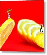 Skateboard Rolling On A Floating Lemon Slice Metal Print by Paul Ge
