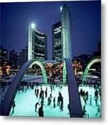 Skating In Nathan Phillips Square, City Metal Print by Peter Mintz