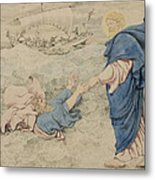 Sketch Of Christ Walking On Water Metal Print by Richard Dadd