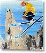 Skiing At Flegere Metal Print