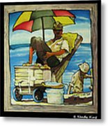 Sleepy Fisherman Metal Print