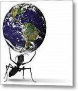 Small Ant Lifting Heavy Blue Earth Metal Print
