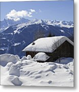 Snow-covered House In The Mountains In Winter Metal Print by Matthias Hauser