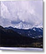 Snow Lake And Mountains Metal Print by Maria Arango Diener