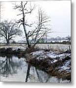 Snow Scene With River Running Through Metal Print by Fizzy Image