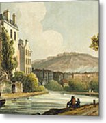 South Parade From Bath Illustrated Metal Print by John Claude Nattes
