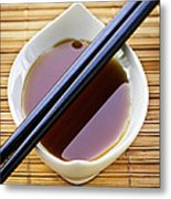 Soy Sauce With Chopsticks Metal Print by Elena Elisseeva