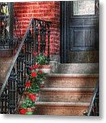 Spring - Porch - Hoboken Nj - Geraniums On Stairs Metal Print
