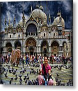 St Mark's Basilica - Feeding The Pigeons Metal Print