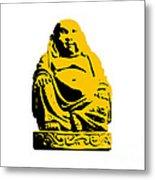 Stencil Buddha Yellow Metal Print