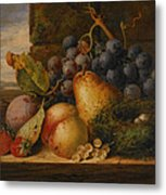 Still Life Grapes Pares Birds Nest Metal Print by Edward Ladell