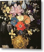 Still Life With Flowers, C.1604 Metal Print by Georg Flegel