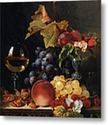 Still Life With Wine Glass And Silver Tazz Metal Print by Edward Ladell