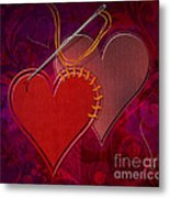 Stitched Hearts Metal Print