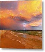 Stormy Skies - Lightning Storm In Esperance Metal Print by Sally Nevin