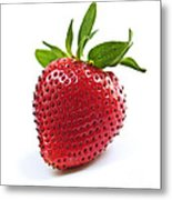 Strawberry On White Background Metal Print by Elena Elisseeva