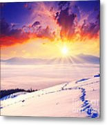 Sunset In The Winter Metal Print by Boon Mee