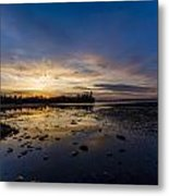 Sunset Silhouette At Candle Lake Metal Print