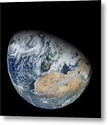 Synthesized View Of Earth Showing North Metal Print