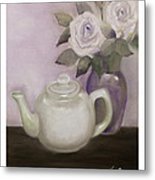 Tea And Roses Metal Print by Nancy Edwards